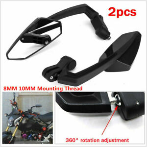 Motorcycle Scooter ATV Dirt Bike Universal 8MM 10MM Side Angled Rearview Mirrors