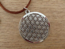 Flower Design Geometric Sterling Silver Plated Charm on Suede Leather Necklace