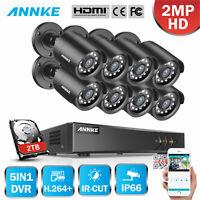 ANNKE 1080P Lite 5in1 8CH DVR 2MP TVI Outdoor CCTV Security IR Camera System 2TB