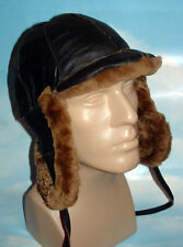 NEW mens Sheepskin Russian Bomber Pilot Aviator Hat Real Leather and Gloves DEAL