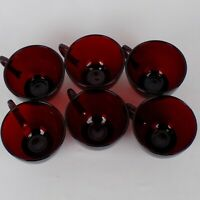 Anchor Hocking Set of 6 Vintage Royal Ruby Red Glass Coffee Tea Punch Cups Mugs