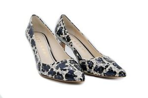 LucyToni Court Shoes Blue and White Floral Mid Heel with Pointed Toe