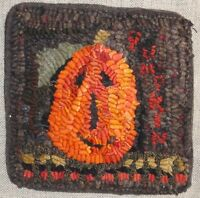 PUMPKINS ~RUG IN A DAY LINEN PATTERN~PRIMITIVE RUG HOOKING