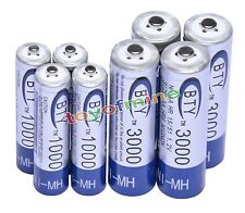 4 AA+4 AAA 1000mAh 3000mAh 1.2V NI-MH rechargeable battery CELL/RC MP3 2A 3A BTY