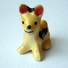 Yellow Tiny Ceramic Cute Thai Bangkaew dog Home Decor Garden decor Miniature