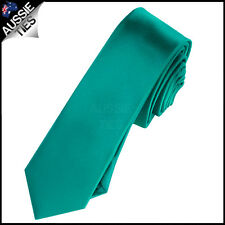 MENS JADE / TEAL / GREEN SKINNY 5CM TIE necktie thin narrow slim