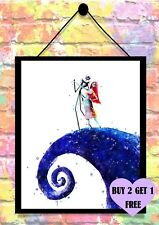 BUY 2 GET 1 FREE Nightmare Before Christmas Jack & Sally Print Poster A4