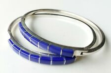 Mexico Marked 2 Lapis Lazuli Sterling Silver Cuffs Bracelets | 29 grams