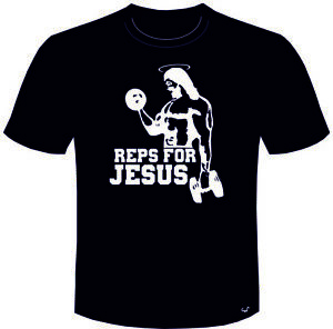 gym tee shirt REPS FOR JESUS weight training funny T SHIRT lifting fitness rat