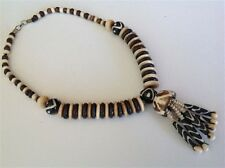 Tibetan bead antique milky black Chinese worry dzi Agate Tiger tooth necklace