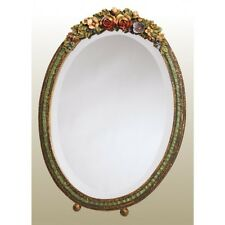 LARGE OVAL BARBOLA TABLE MIRROR COLOURFUL PROFUSE FLORAL FRAME SHABBY CHIC