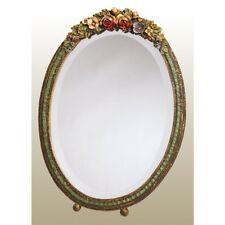 GRANDE TAVOLO OVALE barbola Specchio Cornice Floreale Colorato profuso shabby chic