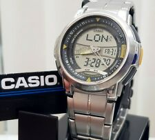 NEW Casio AQF-100 Thermometer Moon & Tide Phase World Time Watch Box + Stand (c2