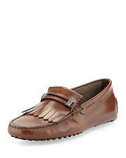 100% AUTHENTIC NEW MEN TODS FRINGE LEATHER MOCCASIN DRIVERS UK 9.5/US 10.5 D