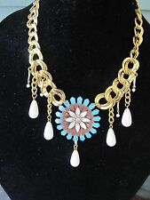 Vintage Blue Enamel Flower & Monet Statement Necklace-A Repurposed Original!