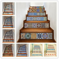 6Pcs Stair Staircase Riser Decals Tiles Wall Stickers Wallpaper Mural 7x39inch