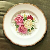 "Queen Anne Bone China 7"" Plate Bread Dessert Lady Sylvia Rose Gold Trim England"