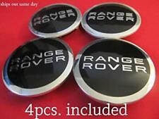 New Set of 4 Range Rover Black & chrome Wheel Emblem Center Hub Caps