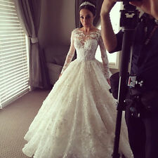 White/ivory Wedding Dress Lace Appliques Long Sleeve Bridal Gown Custom size2-28