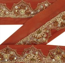 Vintage Sari Border Antique Hand Beaded 1YD Indian Trim Ribbon Rusty Orange Lace