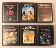 Atari 2600 lot of 6 Asteroids Hunted House Space Invaders Defender Combat