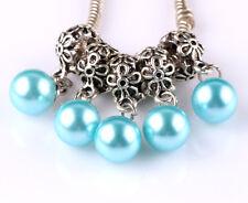 5pcs Tibetan silver pearl pendant spacer beads fit Charm European Bracelet #E510