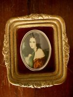 Lady Hamilton by George Romney Vintage Picture Gold Oval Antique  apx 5x4.5""
