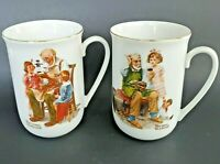 Vintage 1982 Norman Rockwell Classic Mug Series Decorative Coffee Cup Set of 2