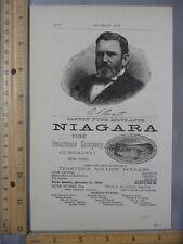 Rare Orig Antique 1889 Ulysses S Grant Niagara Insurance Advertising Art Print