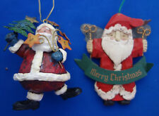 "lot of 2 Christmas ornaments Santa Claus 4"" tall classic"