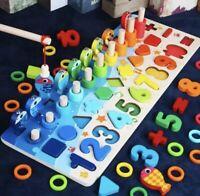 Montessori Lernspiel Angelspiel aus Holz Zahlen Farben Formen ab 3 Jahren