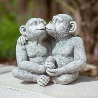 NEW Kissing Monkeys Garden Ornament Patio Outdoor Indoor Statue Monkey Sculpture