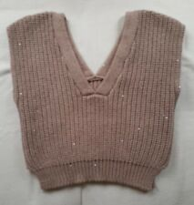 New Brunello Cucinelli Cropped Sleeveless Chunky Knit Cashmere Sweater Jumper M