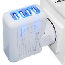 4 Fach Multi USB Hub Ladegerät Netzteil Wand Adapter Universal für Handy Tablet