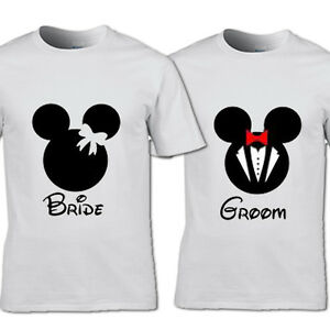 BRIDE M AND GROOM M T-SHIRT FRIENDS HIS & HERS COUPLES WEDDING GIFT