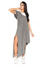 Asymmetric Maxi Dress With Zip Free White T-Shirt Cotton Tunic One Size FT2086