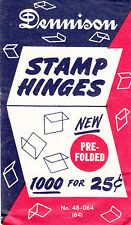 ONE PACK OF THE 2ND BEST STAMP HINGES EVER MADE DENNISON FOLDED HINGES 1000