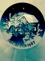 Signed 1967 BING & GRONDAHL Blue And White COLLECTOR PLATE;Jules After, Denmark