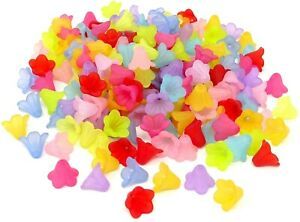 200 Frosted Color Mix Cupped 14x10mm Tulip Scalloped Bell Flower Cap Bulk Beads