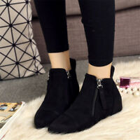 Women's Casual Flat Short Pointy Toe Zip Ankle Boots Solid Color Suede Shoes