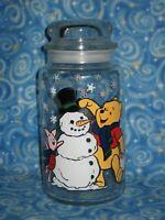 "Disney Christmas Winnie the Pooh Piglet Snowman Glass Jar Canister 8.5"""