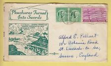 Z424 Milwaukee Sep 1944 censored illustrated tanks cover to UK; 5c rate 3 stamps