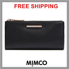 MIMCO REVEL BLACK ROSE GOLD MIM FOLD WALLET SHEEPSKIN LEATHER RRP179 DF