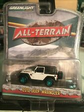1/64 GREENLIGHT ALL-TERRAIN 2012 JEEP WRANGLER WHITE GREEN MACHINE CHASE