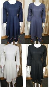 Stitched Ladies Shalwar Kameez Black Linen Pakistani/Indian Kurta Salwar 2 Piece