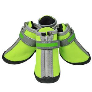 4pcs Dog Shoes Small Large Dog Boots Pet Snow Rain Booties Reflective Anti-slip