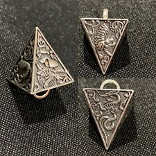 3D Emblem Pyramid Triangle Dragon Tiger Bird Sterling Silver 925 Pendant