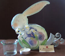 Home Interiors (Homco): Easter Bunny Metal Candle Holder #11528 + Candle. New!