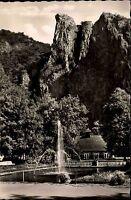 Bad Münster am Stein Ebernburg s/w AK ~1950/60 Springbrunnen Rheingrafenstein