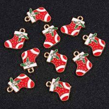 10Pcs Christmas Socks Shape Enamel Charm Pendant DIY Necklace/Bracelet Jewelry